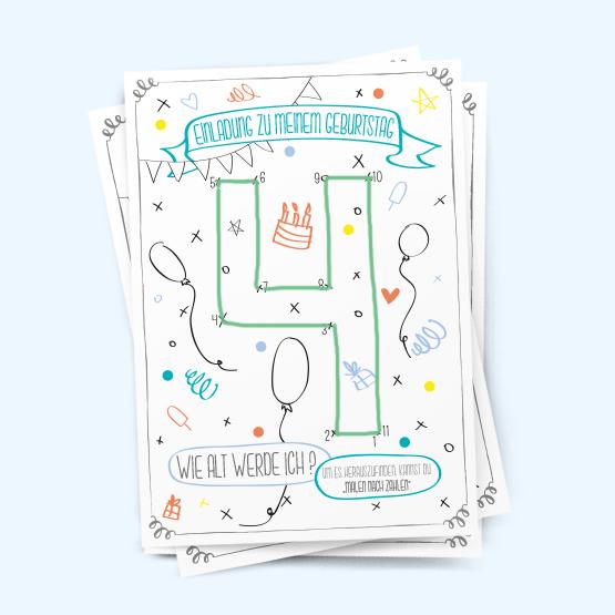 4. geburtstag jungs | malen nach zahlen, Einladungen