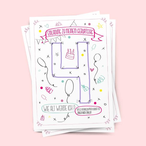 Schön Malen Nach Zahlen Einladung Geburtstag Kindergeburtstag Postkarte Party