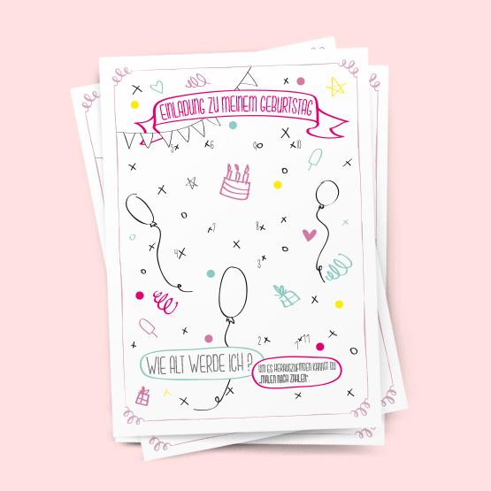 Malen Nach Zahlen Einladung Geburtstag Kindergeburtstag Postkarte Party
