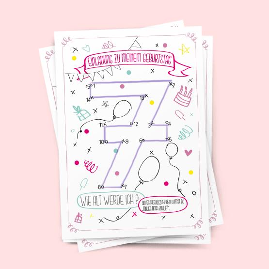 7. Geburtstag Mädchen | Malen nach Zahlen