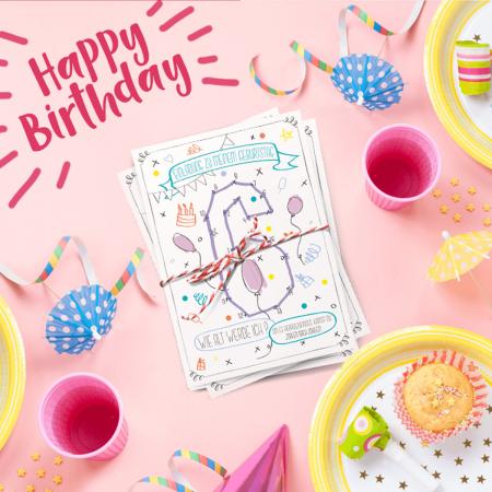 Malen-nach-Zahlen-einladung-Geburtstag-Kindergeburtstag-Postkarte-Party-Konfetti-Wimpel-Luftballons-Mädchen-Pink-Rosa-Quadrat 2