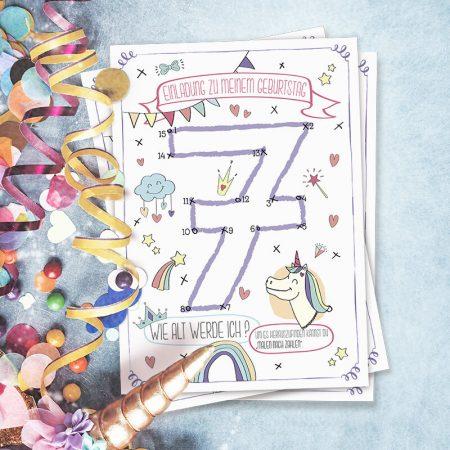 Kindergeburtstag Malen nach Zahlen Einladung Einhorn mit der 7 Quadrat